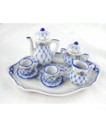 Limoges Miniature Blue Floral Tea Set & Tray - Tea Pot Sugar Creamer - D... - $135.00