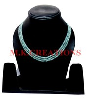 """AAA+ Natural Aquamarine 3-4mm Rondelle Faceted Beads 16"""" Long 3 Strand N... - $30.26"""