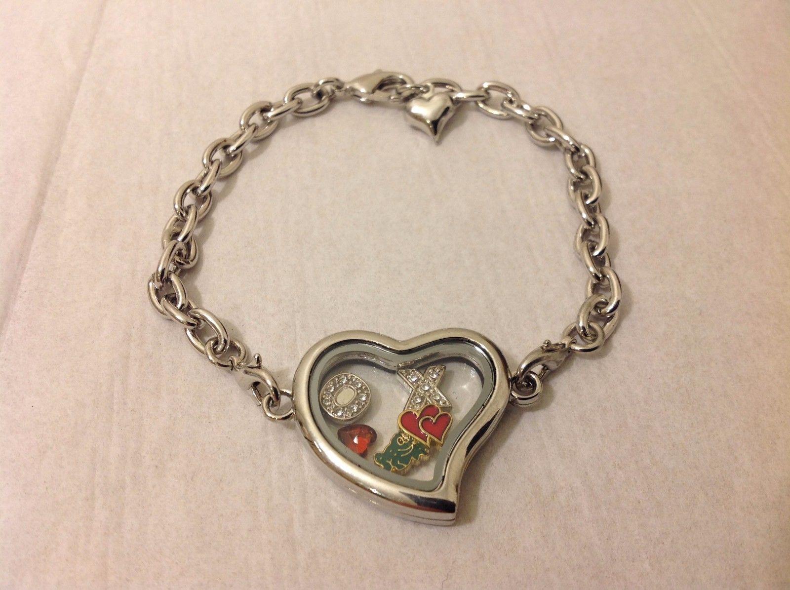NEW Silver Toned Bracelet Heart Pendant Mini Charms Inside Pendant Lobster Clasp