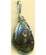 Red Agate Stainless Steel Wire Wrap Pendant 38 - $20.03