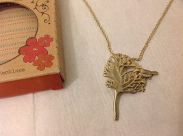 NEW GoldToned Necklace Geranium Dainty Charm Tree Bird Adjustable Lobster Clasp