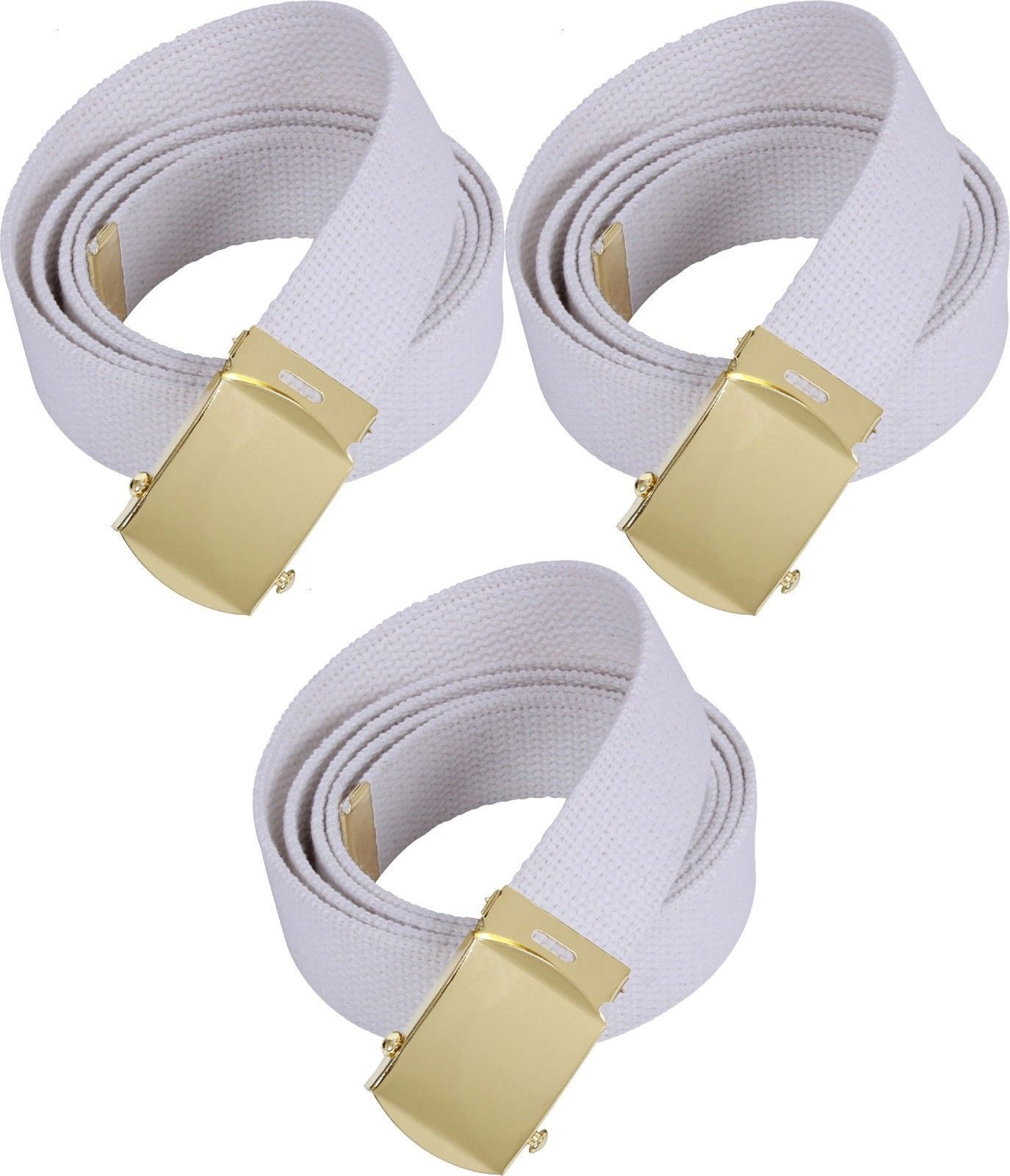 White Military Cotton Web Belt with Gold and 30 similar items 3bb9eeb0d93
