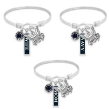 Navy Three Charm Bangle Bracelet Silver Jewelry Choose Wife Mom or Navy ... - $15.99