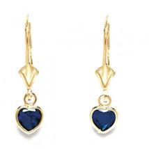 Women/Children 14K Gold Sapphire September Birthstone Dangle Heart Shape Earring - $61.58