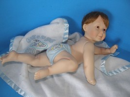1994 ASHTON DRAKE GALLERIES PORCELAIN BOY DOLL IN  BLANKET SIGNED TITUS ... - $32.71