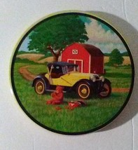 "Vintage Stove Top Cover Tin Burner Cover 7"" Red Barn Vintage Car Wall Pl... - $12.59"