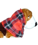 Red Black Plaid Fleece Dog Snood by Howlin Hounds Spaniel Afghan Size Small - $11.50