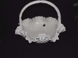 Fenton Hobnail-Milk Glass 11.75 Inch Basket  Wh... - $34.64