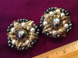 "2"" DAGO silvery goldy Cluster Faux Pearl Earrings w Gold tone clip on, s... - $13.49"