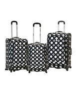 Rockland Luggage Set 3 PC Black Polka Dot Spinn... - $149.99