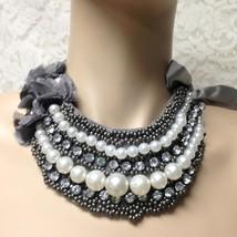 Elegant, Rhinestone, Black Seed Pearls, Gray Ribbon 40in Adjustable Tie ... - $14.20