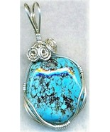 Turquoise Silver Wire Wrap Pendant 38 - $33.24