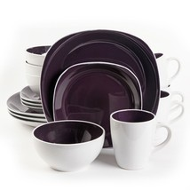 Gibson Home Chicstone 16pc Dinnerware Set in Purple and White - $88.69