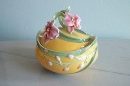 Franz Flowering Gems Moth Orchid Flower Porcelain signed numbered Jewelr... - $93.49