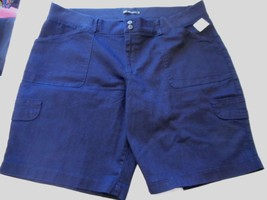 Women's Lee Avey Cargo Bermuda Shorts Navy Size 22W Relaxed Fit NEW - $32.66