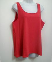J Jill 1X Perfect Tank Top NEW Coral Red Sleeveless Layering Cami Stretch L XL - $25.65