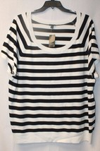 New Torrid Womens Plus Size 5X 30W 32W White & Black Striped Short Sleev Sweater - $26.11