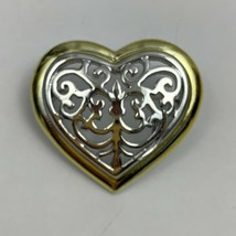 Danecraft Two Tone Open Heart Scroll Style Brooch Pin Silver Gold Tone R... - $14.80