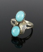 Vintage .925 Sterling Silver 2.8g Southwestern Double Turquoise Ring Siz... - $23.60