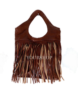 Leather Moroccan Boho HandBag Genuine, Handmade Boho Handbag Leather Fringe - $59.99