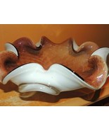 """Art Glass Bowl Dish Brown/ Purple Aventurine 9"""" biomorphic Barovier Toso Murano - $22.49"""