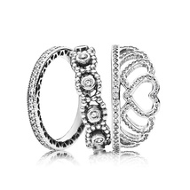 925 Sterling Silver Tiara Sparkle Rings Stack Set For Women - $50.99