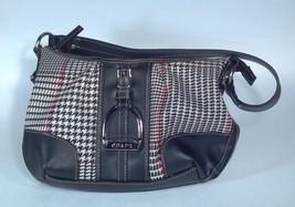 Ralph Lauren Chaps Medium Handbag Houndstooth Print Purse Black White Red - $19.34