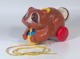 Vintage 1979  Fisher Price Roly Raccoon Pull Toy 172 Baby Toddler - $11.64