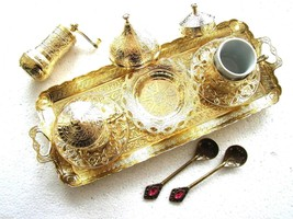 Turkish Coffee- Espresso Set with  4'' Grinder & 2 Spoons Shiny Gold - £55.03 GBP