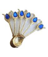 Handmade Antique Gold-Dark Blue Turkish Ottoman Teaspoons for Coffee Tea... - $16.99