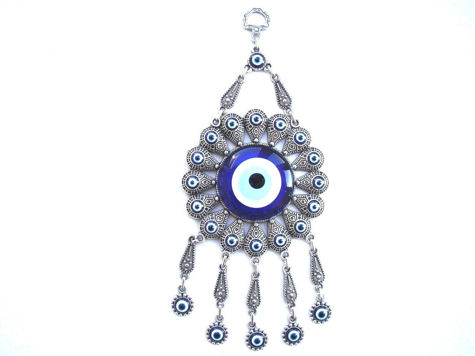 Wall Hanging Amulet Turkish Silver Plated &  Evileye 24 cm