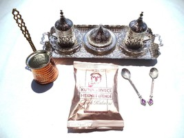 Traditional Turkish Coffee Espresso Set with Coffee Pot+Turkish Coffee+2... - £51.10 GBP