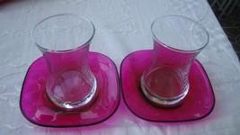 TURKISH GLASSWARE TEA SET OF 6 pcs. GLASSES+ 6 pcs. SAUCERS (GURALLAR RÜYA) - $42.99