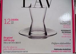 TURKISH GLASSWARE TEA SET OF 6  GLASSES+ 6 SAUCERS (LAV_DERIN)+ 6 vintag... - $38.99