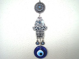 Hamsa Hand Religious Wall hanging Amulet  Silver Plated,Green & Evileye ... - $16.99