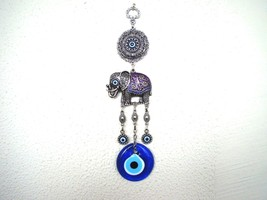 Wall Hanging Amulet Turkish Silver Plated Purp Color  Elephant  & Evileye 25 cm - $14.99