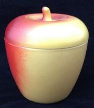Vtg Apple Shaped Jam Jelly Jar & Lid Hazel Atlas Painted Milk Glass Kitchen FR S - $19.74