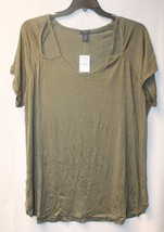 New Womens Plus Size 3X Olive Army Green Cut Out Shoulder Piece Tee Shirt Top - $16.44