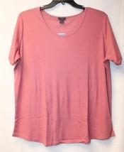 New Womens Plus Size 3X Pretty Pink Ribbed Knit Shortslv Shirttail Tee Shirt Top - $18.37