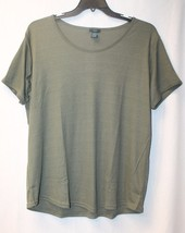 New Womens Plus Size 3X Olive Green Ribbed Knit Shortslv Shirttail Tee Shirt Top - $18.37