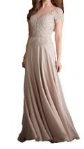 Fanmu Short Sleeves Sheer Neck Long Chiffon Evening Prom Dresses Champagne US 4 - $95.99