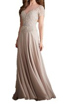 Fanmu Short Sleeves Sheer Neck Long Chiffon Evening Prom Dresses Champagne US 6 - $95.99