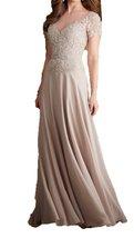 Fanmu Short Sleeves Sheer Neck Long Chiffon Evening Prom Dresses Champagne US 8 - $95.99