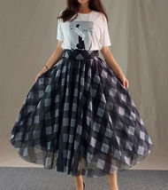 High Waisted BLACK PLAID Skirt Long Tulle Black Plaid Skirt Outfit Plus Size image 5