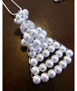 White Glass Pearl Angel Necklace 22 Inches Long - $12.99