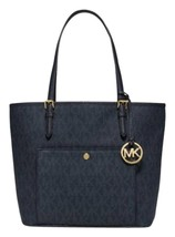 Michael Kors Jet Set Item LARGE snap Pocket Tote Signature travel navy NWT - $142.55