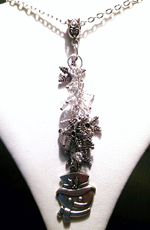 Beautiful Snowflake Snowman Drop Charm Necklace