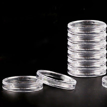 10pcs 30 mm Applied Clear Round Cases Coin Storage Capsules Holder Round... - $1.90
