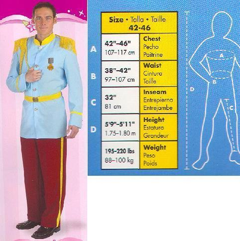 PRINCE CHARMING COSTUME ADULT ONE SIZE