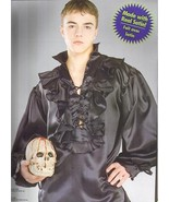 PIRATE MEDIEVAL RENAISSANCE POET SHIRT BLACK SATIN STD - $30.00